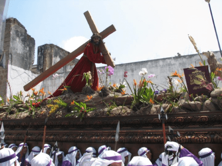 Semana Santa Jesus carrying the cross -- Holy Easter Week Good Friday Easter Sunday in Antigua, Guatemala
