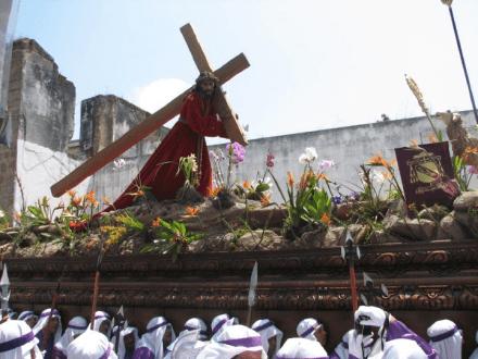Semana Santa Jesus carrying the cross -- Holy Easter Week Good Friday Easter Sunday in Antigua, Guatemala