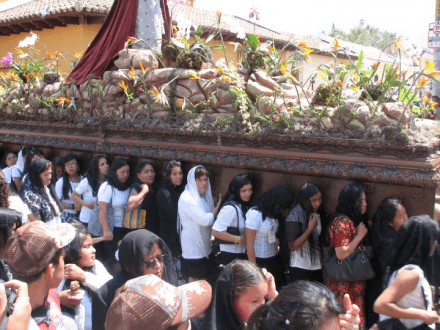 Semana Santa Ladies Procession -- Holy Easter Week Good Friday Easter Sunday in Antigua, Guatemala
