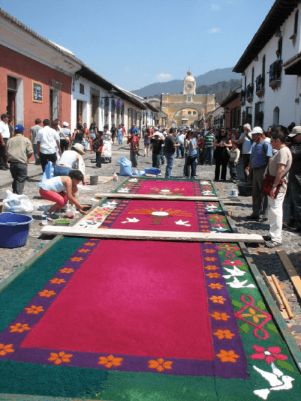 Semana Santa Preparations Alfombras de Aserrin Carpets of Sawdust Holy Easter Week Antigua Guatemala