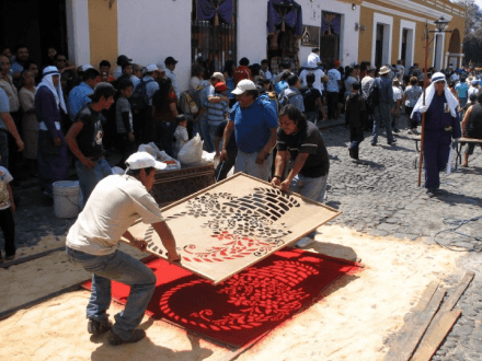Making the Designs carpets for procession -- Holy Easter Week Good Friday Easter Sunday in Antigua, Guatemala