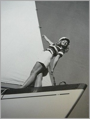 Vintage Sailor Girl Sailing Boat