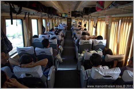 Day train soft seat car Lao Cai to Hanoi Vietnam