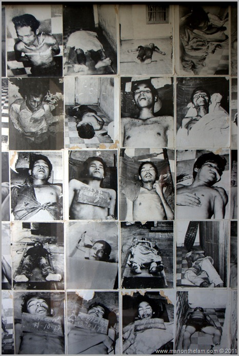 Photos of victims of Pol Pot's regime, Tuol Sleng Prison Genocide museum, Phnom Penh, Cambodia