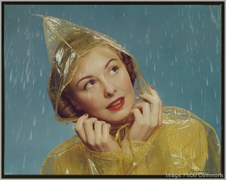woman thinking in the rain