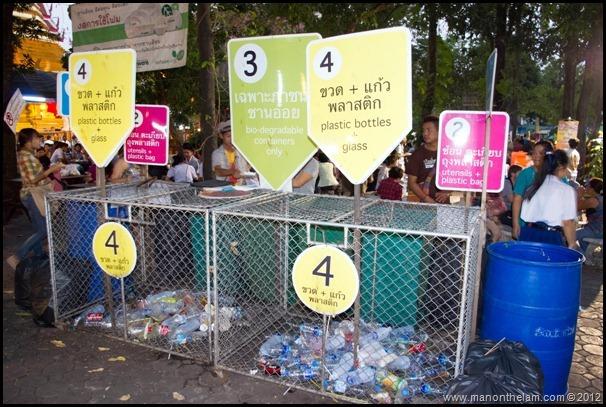 Chiang Mai, Thailand Sunday Night Market food bazaar recycling program