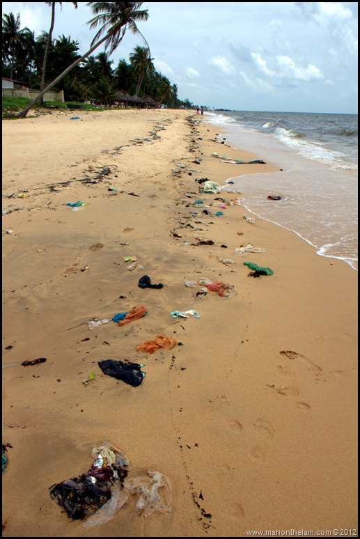 Garbage lining the beach in Phu Quoc, Vietnam