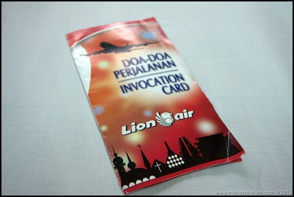 Lion Air Invocation Prayer Card, Indonesia