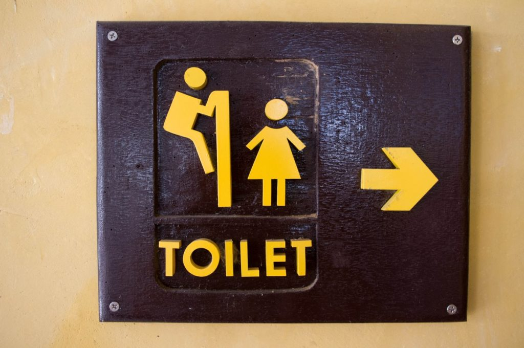 Toilet humour -- peeping tom toilet sign -- man looking over bathroom stall at woman