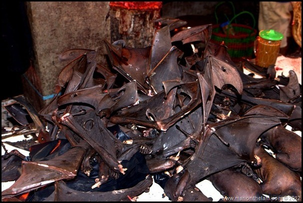 Bat wings for sale as food -- Tomohon Traditional Market, North Sulawesi, Indonesia
