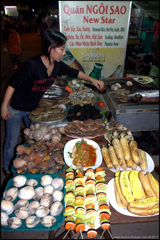Fresh Seafood for sale, Night Market, Phu Quoc Vietnam
