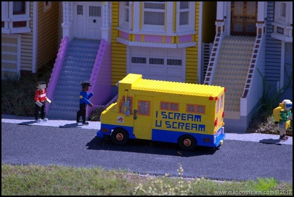 lego ice cream truck, lego san francisco houses, I Scream You Scream truck, Miniland USA, Legoland Florida, Aeroplan Welcome Aboard Event