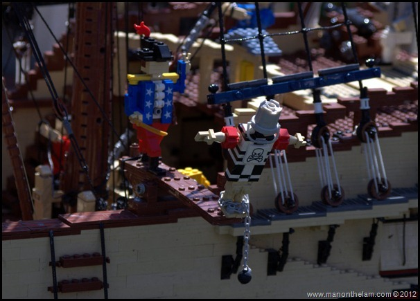 lego pirates of the caribbean ship, Lego Pirate ship, Man walking the plank, Miniland USA, Legoland Florida, Aeroplan Welcome Aboard Event