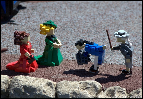 lego ladies, lego chivalry, Old-fashioned stick man and ladies, Miniland USA, Legoland Florida, Aeroplan Welcome Aboard Event