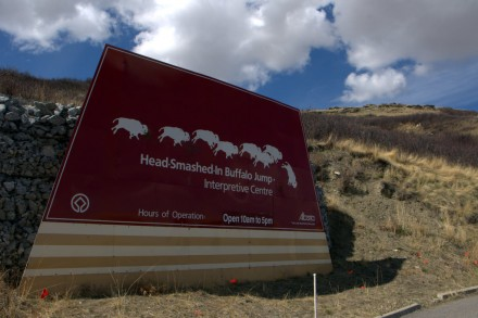 Head-Smashed-In Buffalo Jump Sign , Alberta, Canada