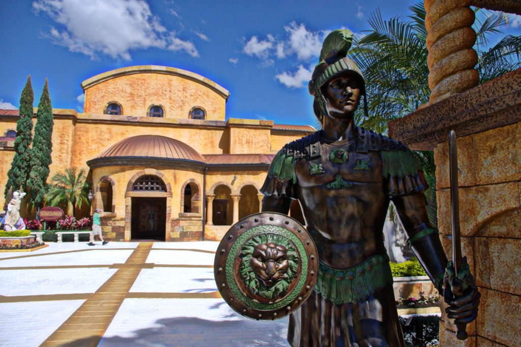 Statue of a Roman soldier guarding the Scriptorium -- the Holy Land Experience, Orlando, Florida