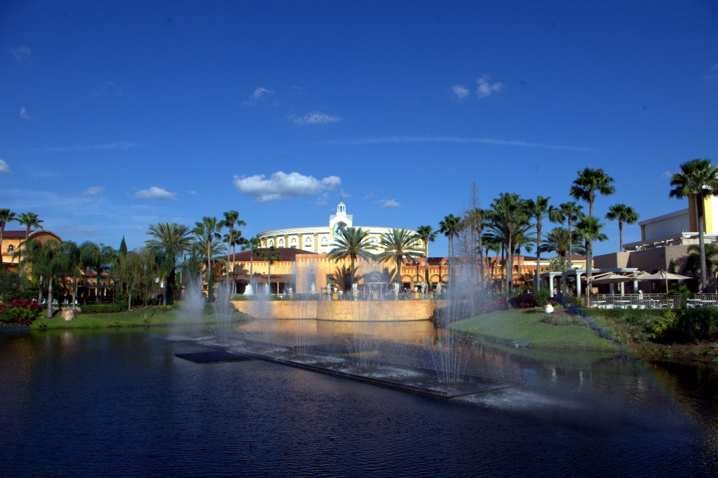 Water display in shape of a cross -- The Holy Land Experience, Orlando, Florida
