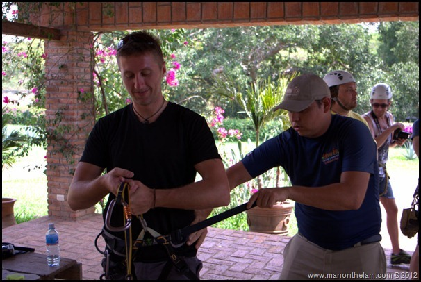 Matt Gibson getting strapped into safety harness -- Huana Coa Canopy Adventure Zip Line Tour, Mazatlan, Mexico, #GoMazatlanNow