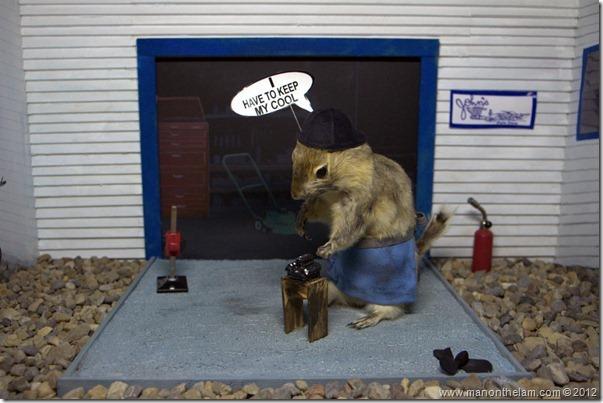 Engine mechanic at Gopher Hole Museum, Torrington, Alberta, Canada