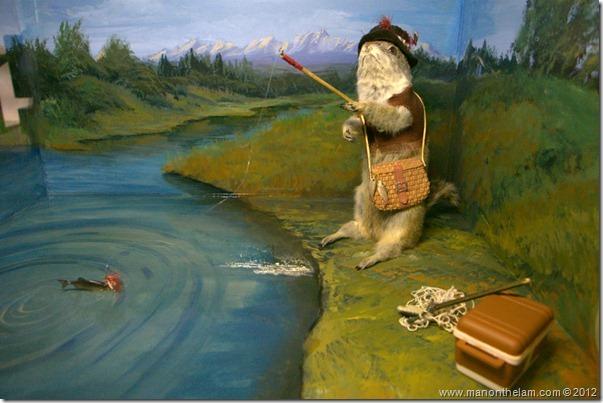 Fisherman  at Gopher Hole Museum, Torrington Alberta