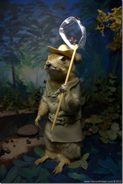 Gopher with butterfly net at Gopher Hole Museum, Torrington Alberta