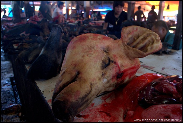 Pig's head at Tomohon Traditional Market, Tomohon, Sulawesi, Indonesia