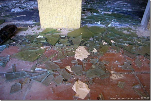 broken glass -- Abandoned Beach Resort, Club Maeva Tulum, Xpuha, Riviera Maya, Mexico 216