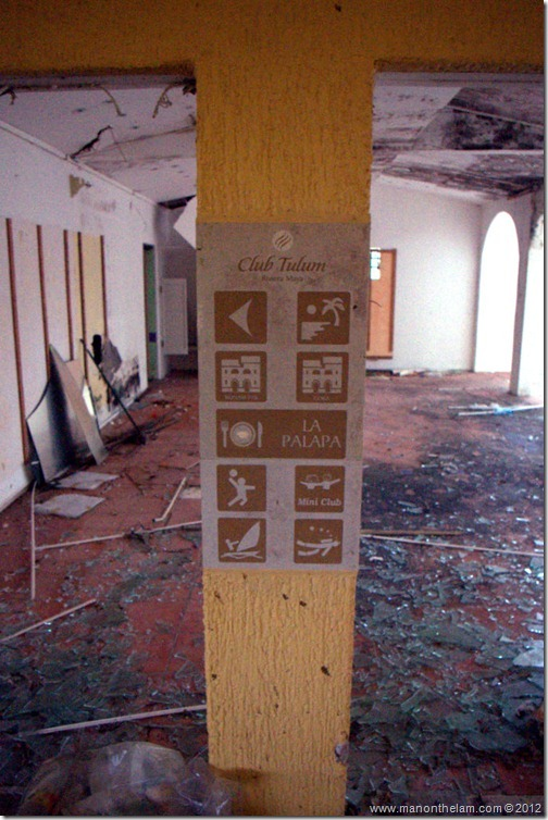 crumbling ceiling, ceiling caving in -- Abandoned Beach Resort, Club Maeva Tulum, Xpuha, Riviera Maya, Mexico 237-001