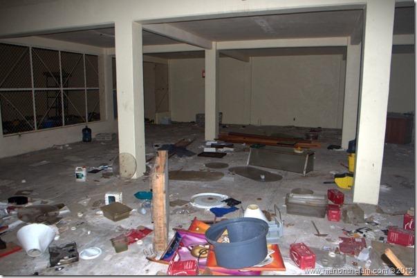 debris scattered in hotel -- Abandoned Beach Resort, Club Maeva Tulum, Xpuha, Riviera Maya, Mexico 257