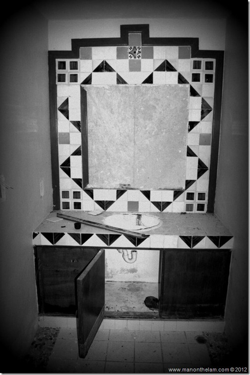 black and white bathroom in ruins -- Abandoned Beach Resort, Club Maeva Tulum, Xpuha, Riviera Maya, Mexico 326