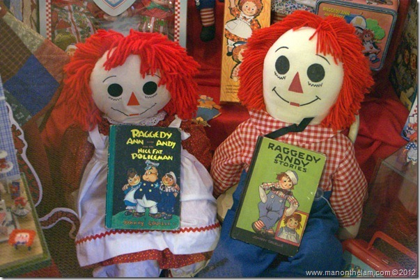 Raggedy Ann and Raggedy Andy dolls and books