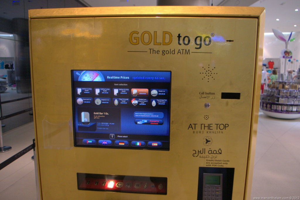 Gold Plated Naturally The Automated Banking Vending Machine Here Dispenses Burj Khalifa Emblazoned Bars Coinedallions Instead Of Something