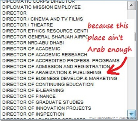 Funny Visa Application Job Titles -- Director of Arabization and Publishing