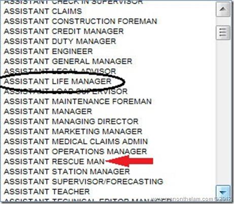 Funny Visa Application Job Titles Assistant Rescue Man, Assistant Life Manager