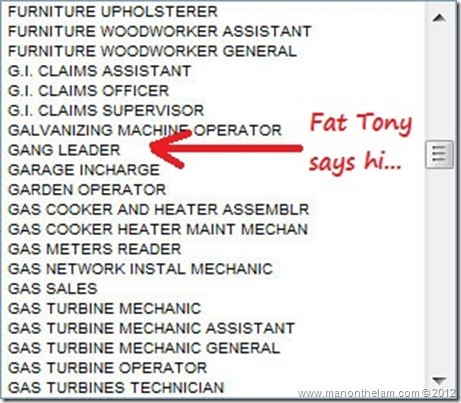 Funny Visa Application Job Titles -- Gang Leader