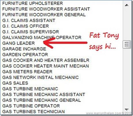 Funny Visa Application Job Titles -- Gang Leader