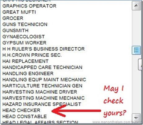 Funny Visa Application Job Titles -- Head Checker