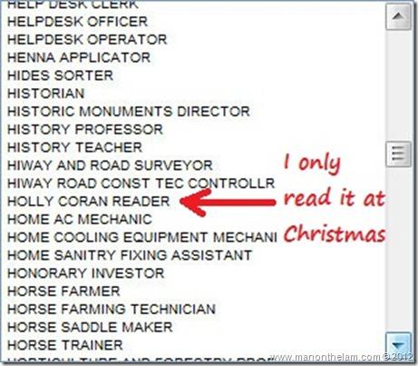Funny Visa Application Job Titles -- Holly Coran Reader