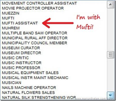 Funny Visa Application Job Titles -- Mufti Assistant