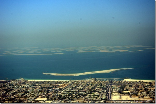 View of the unfinished The World Islands project from Burj Khalifa, Dubai, UAE