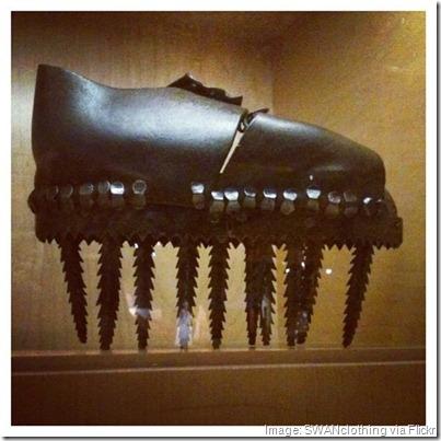 19th century chestnut crushing clog, Bata Shoe Museum, Toronto
