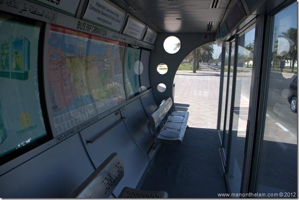 Air conditioned bus stop interior -- Dubai, UAE