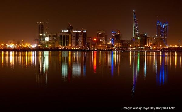 Manama Bahrain skyline at night