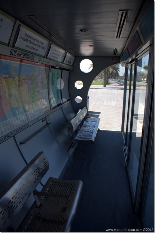 interior of air conditioned bus stop, Dubai, United Arab Emirates